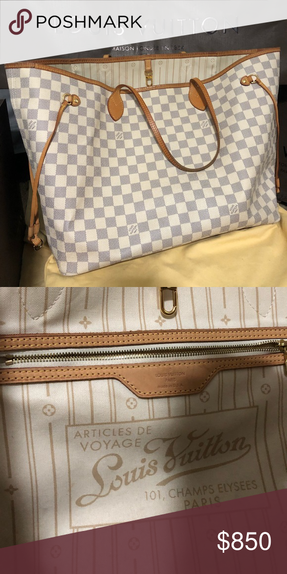 Louis Vuitton Never Full GM Damier Azur Canvas Pre-loved, authentic LV  creme tote d959d56775