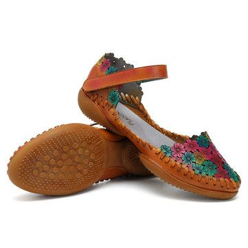 Marguerites Socofy Douces Chaussures Plates En Cuir SFgCe6