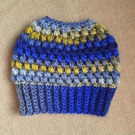 Twilight Messy Bun Beanie, Ready to Ship, Crochet Messy Bun Beanie, Top Knot Beanie, Bun Hat, Croche #messybunhat