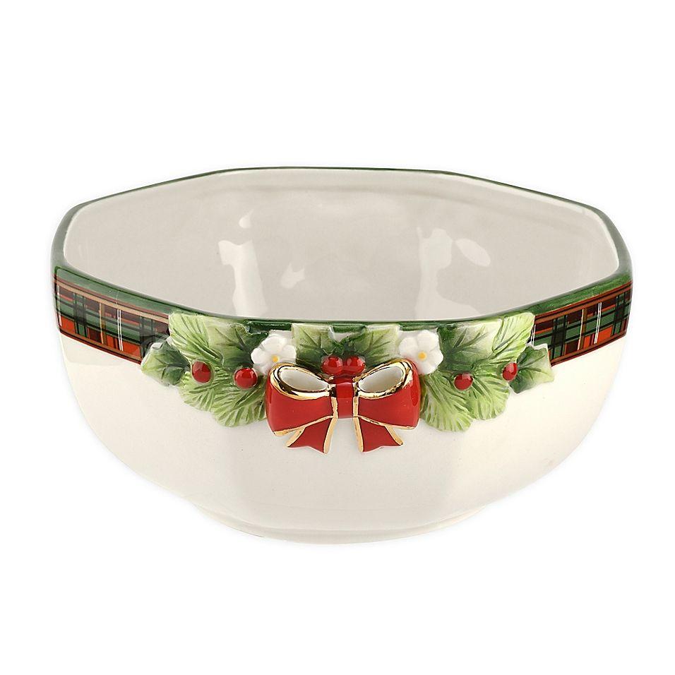 Spode Christmas Tree Tartan Octagonal Serving Bowl Green/multi