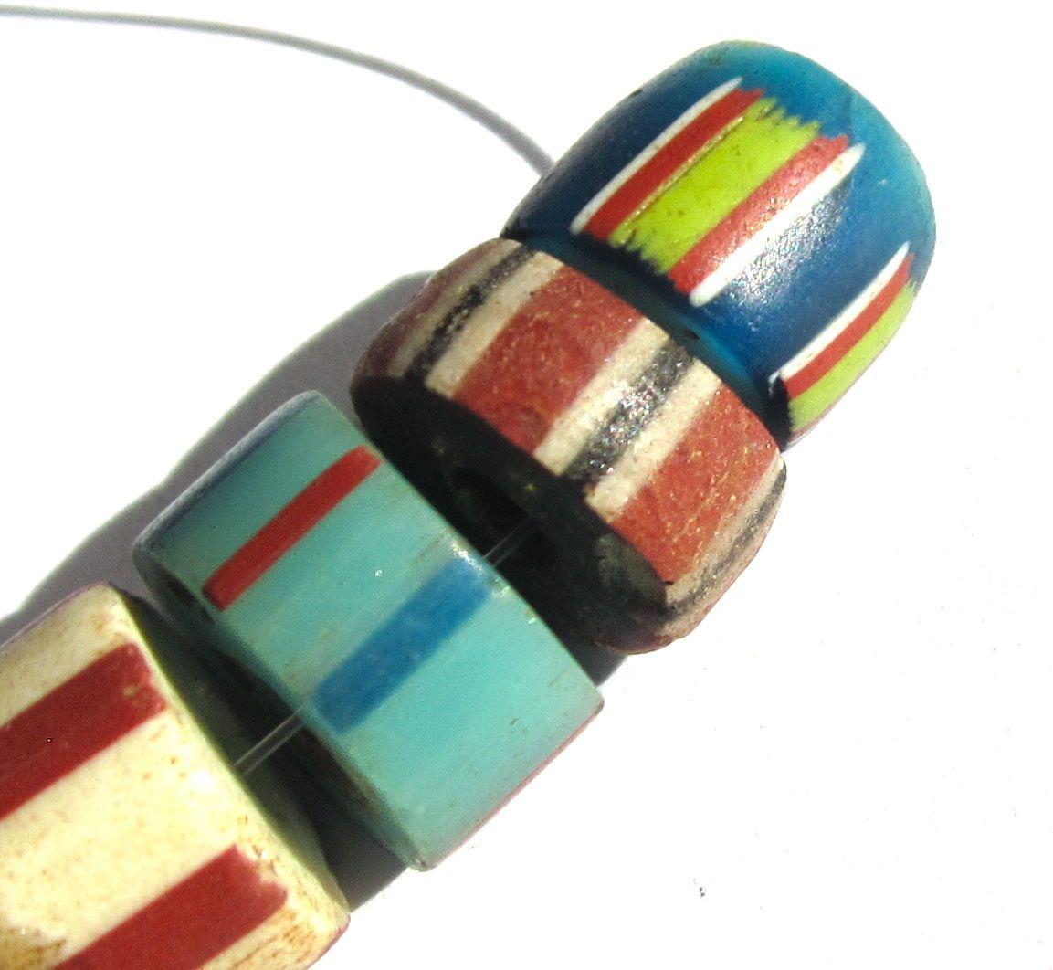 7 RARE Old Mixed Striped Venetian Dutch Chevron Trade Beads | eBay
