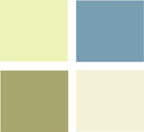 Moss Green Paint Colors: Example Palette: Clockwise From Top Left, These Cool