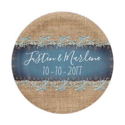 Burlap & Lace & bows Wedding or Anniversary Plates | Bow wedding ...