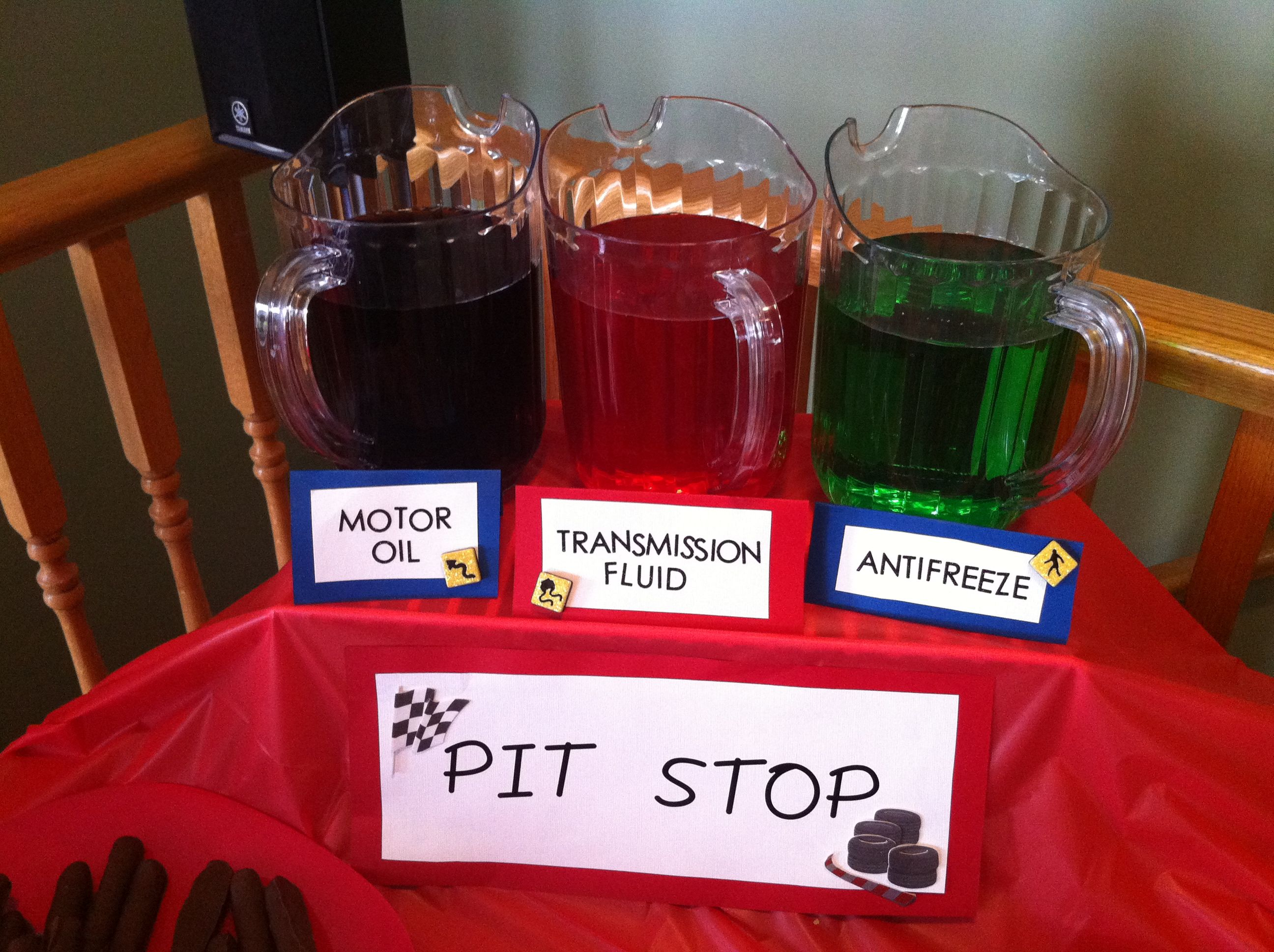 Motor Oil Antifreeze And Transmission Fluid Grape Lime And Cherry Kool Aid Hotwheels Birthday Party Cars Birthday Party Disney Cars Theme Birthday Party