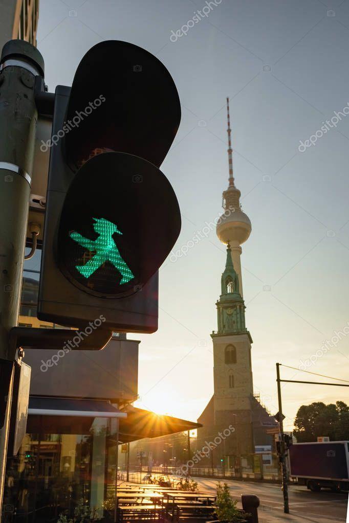 Green Ampelmann on Berlin Traffic Light with Berlin TV Tower or Berliner Fernseh ,