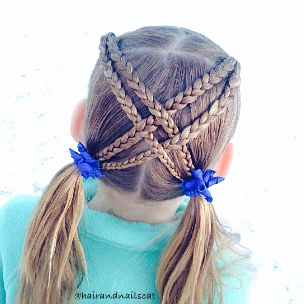 Criss cross braided pigtails
