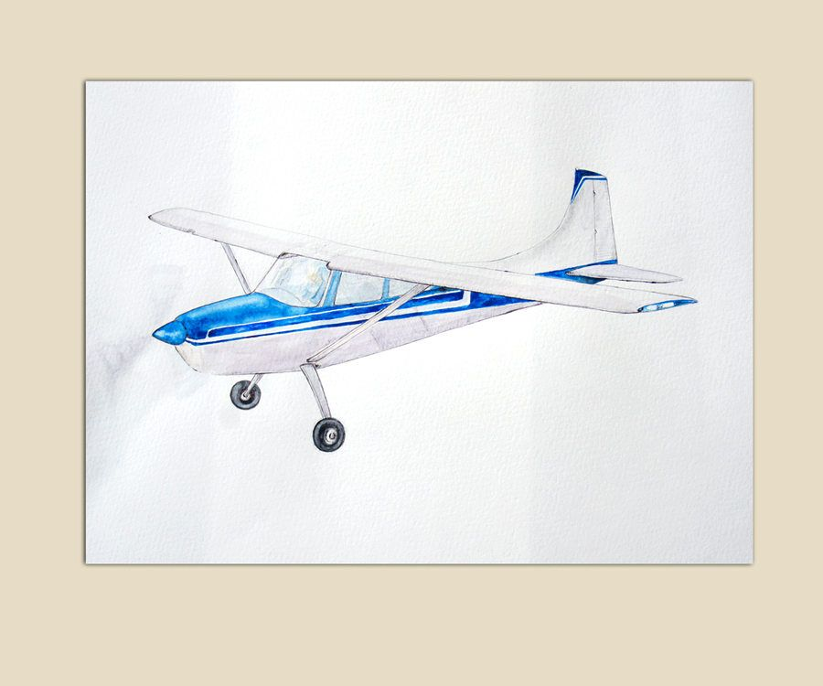 Airplane Decor Original Painting Blue Plane Watercolor Airplanes