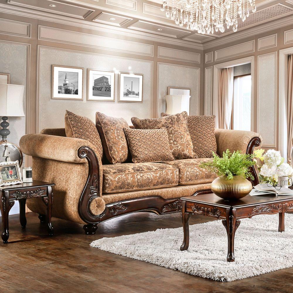 Ersa Traditional Wood Trim Chenille Fabric GoldBronze Sofa by