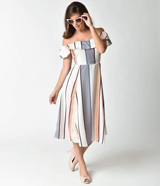 79ae764995 Retro Style White   Multicolor Stripe Off Shoulder Midi Dress ...
