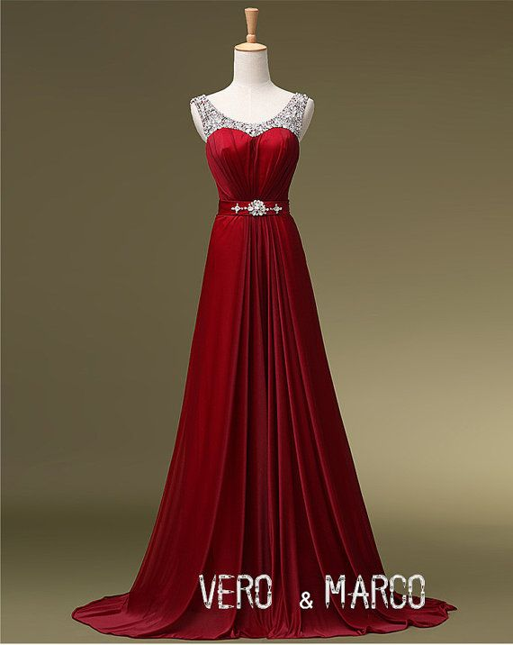 Crimson Evening Dresses Christmas
