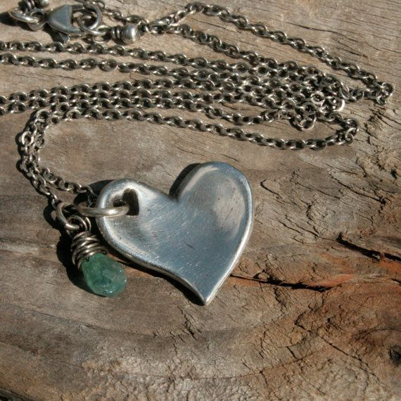 Fine Silver Shiny Heart Necklace - Take Heart, Curved Pendant in PMC for $45.00 at etsy.com