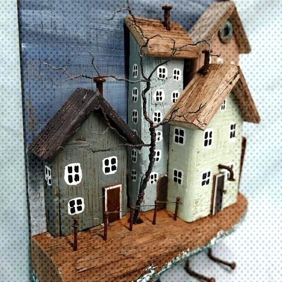 RUSTIC DRIFTWOOD COTTAGES key holder jewelry holder Seaside Ocean Cottages - earrings models - RUS