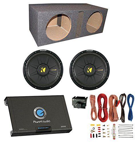 "2) New Kicker 40CWS104 10"" 1200W Car Subwoofers + Sub Box + Amplifier + Amp Kit"