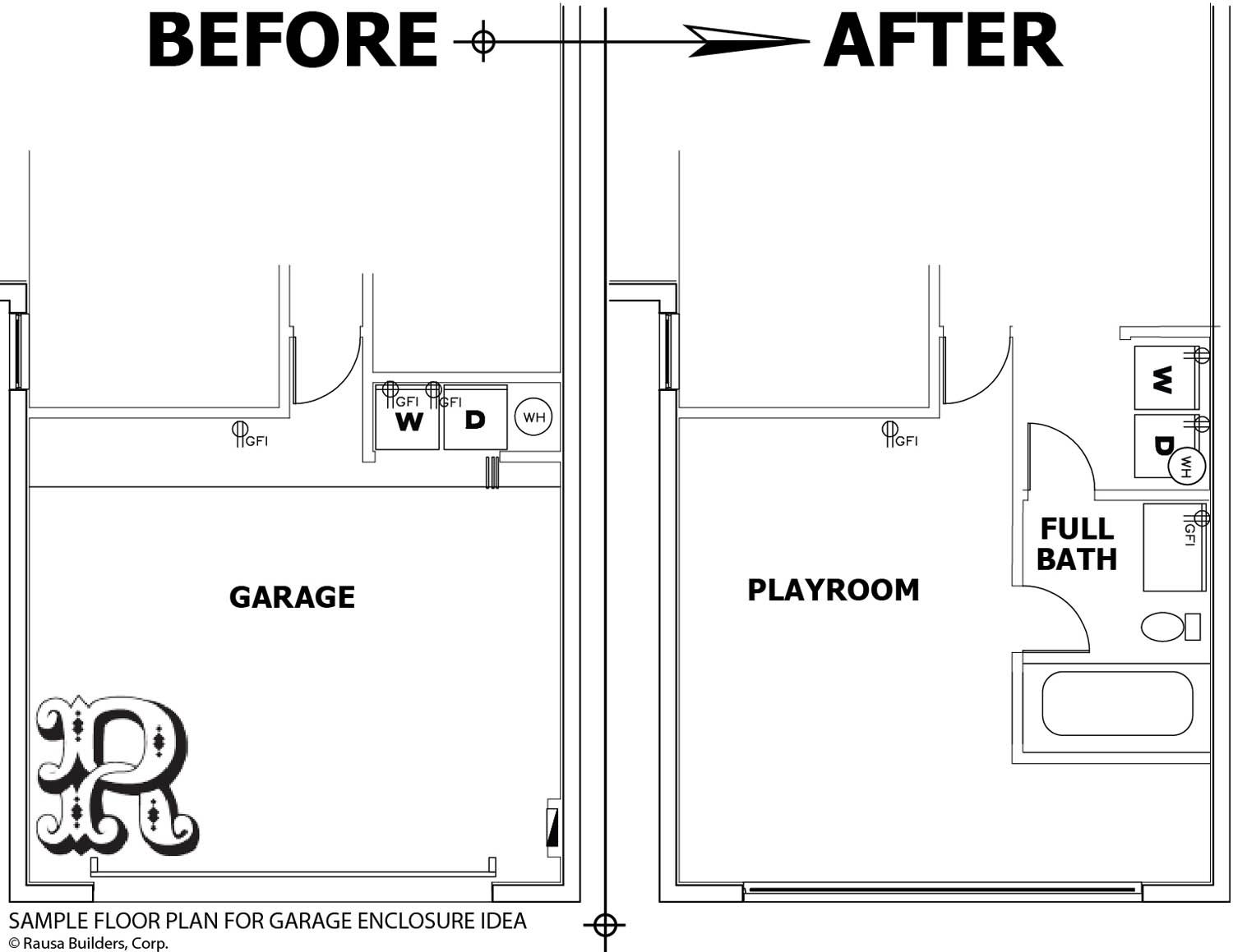Sample garage conversion with bathroom and washer dryer for Bathroom sample layouts