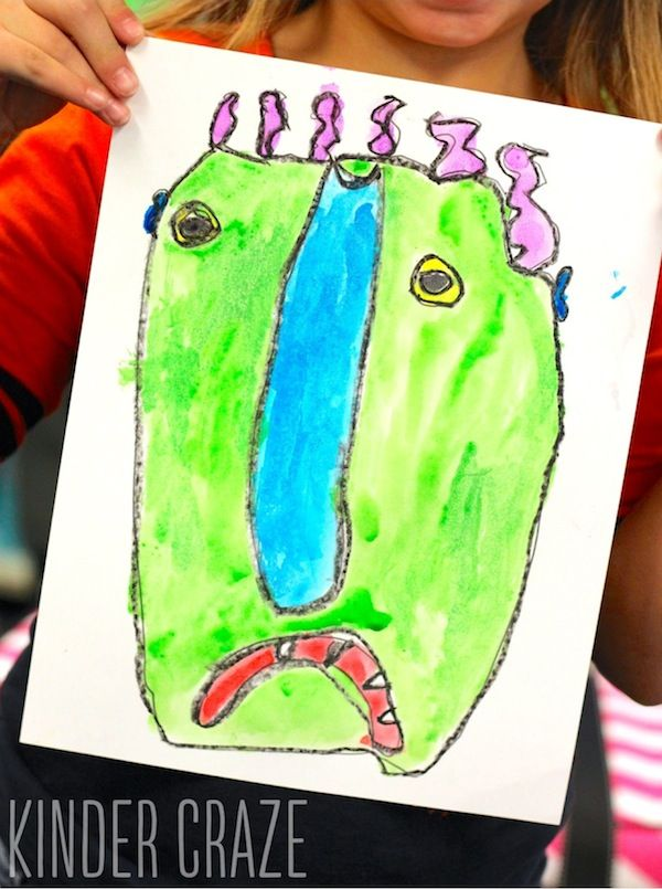 Big Green Monster Kindergarten Watercolor Paintings Big Green