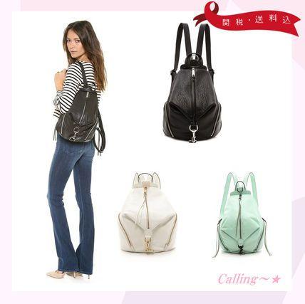 VIP.sale!ローラさん愛用ブランド!Rebecca Minkoff バックパック シンプルでエッジィなデザインが素敵なバッグです☆柔らかいレザーで使いやすく、ジッパーがアクセントで付いています♪