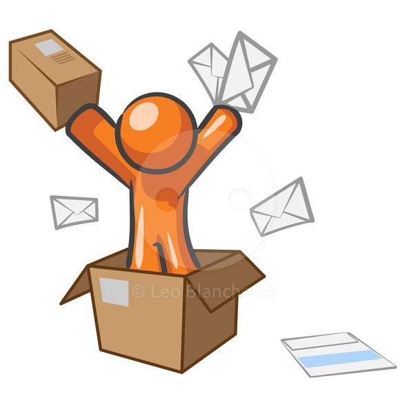 A design mascot with mail going postal. Design Mascot Going Postal