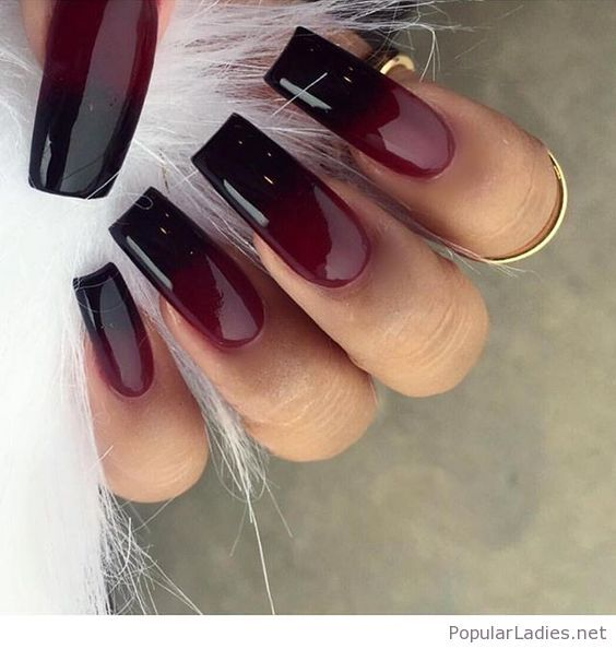 Burgundy To Black Nail Art With Images Coffin Nails Designs Red Ombre Nails Long Nails