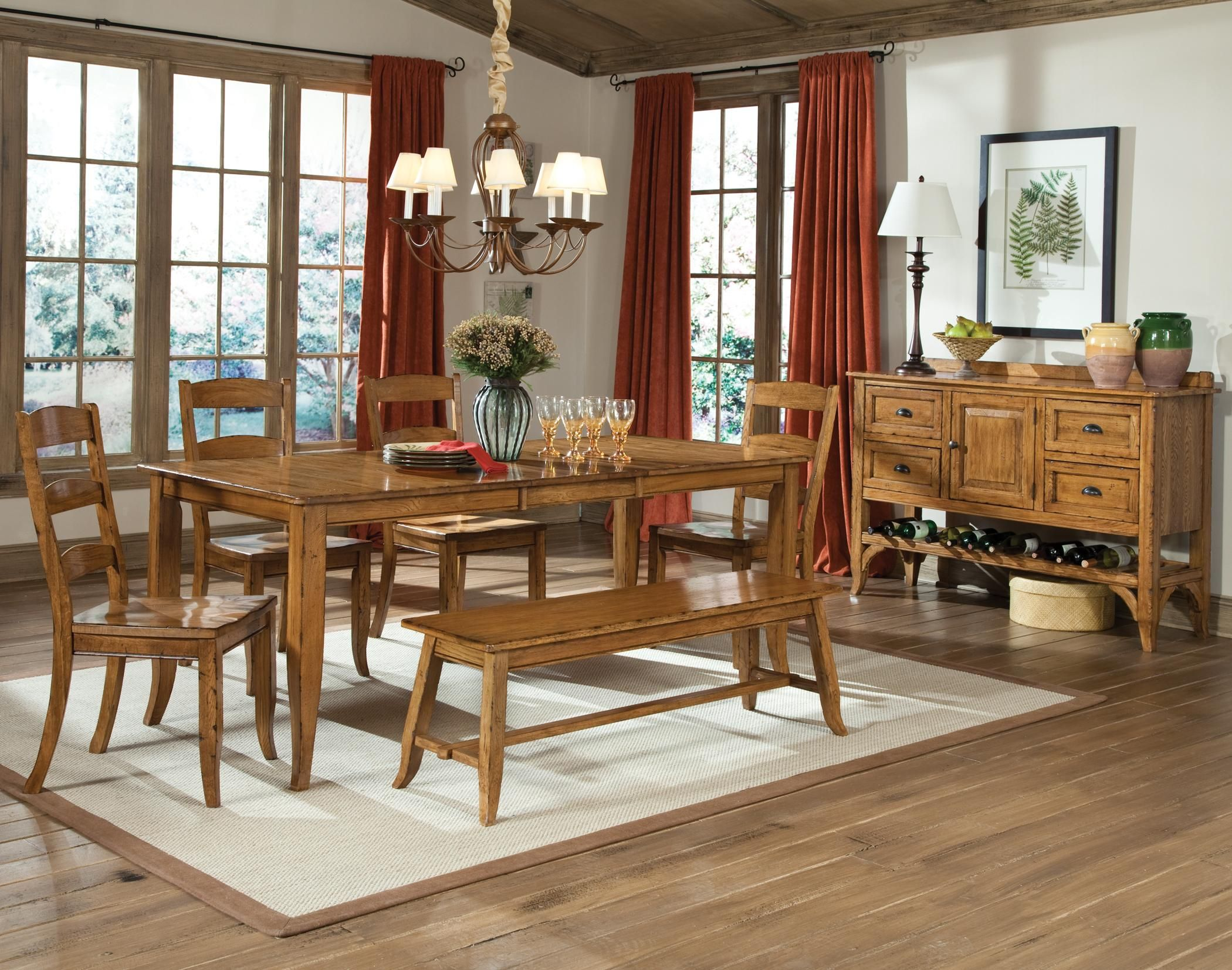 Intercon Furniture Old Farm Dining Room Featuring Backless Dining