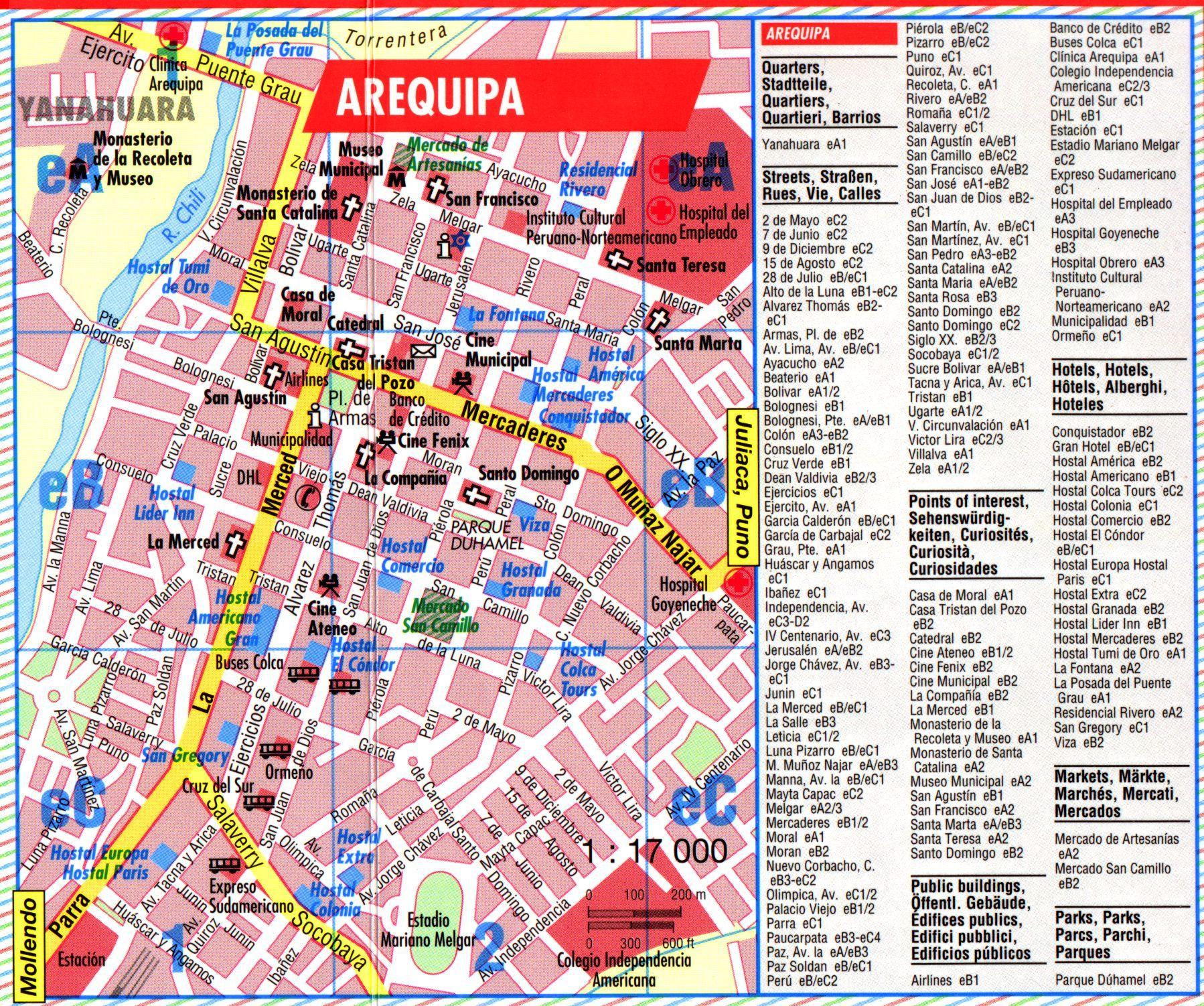 Arequipa Tourist Map Arequipa Peru • mappery Peru