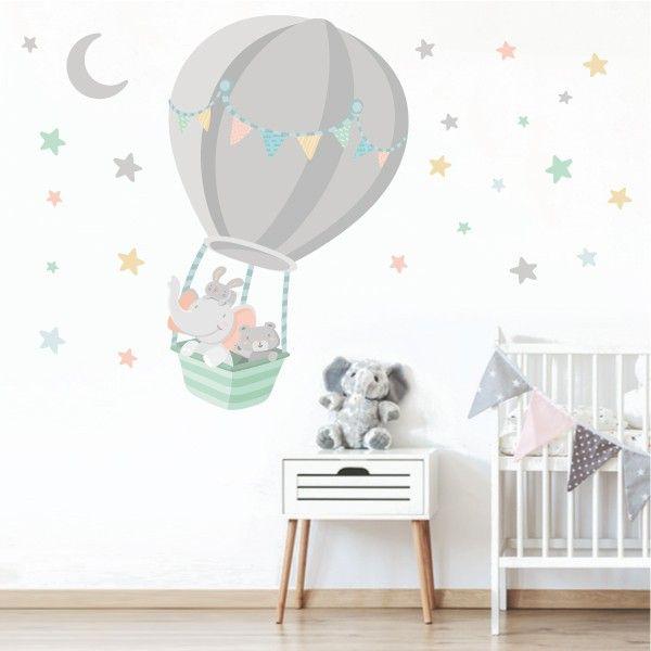 Vinilo beb animales volando en globo luna gris en 2019 - Decoracion habitacion bebe vinilos ...