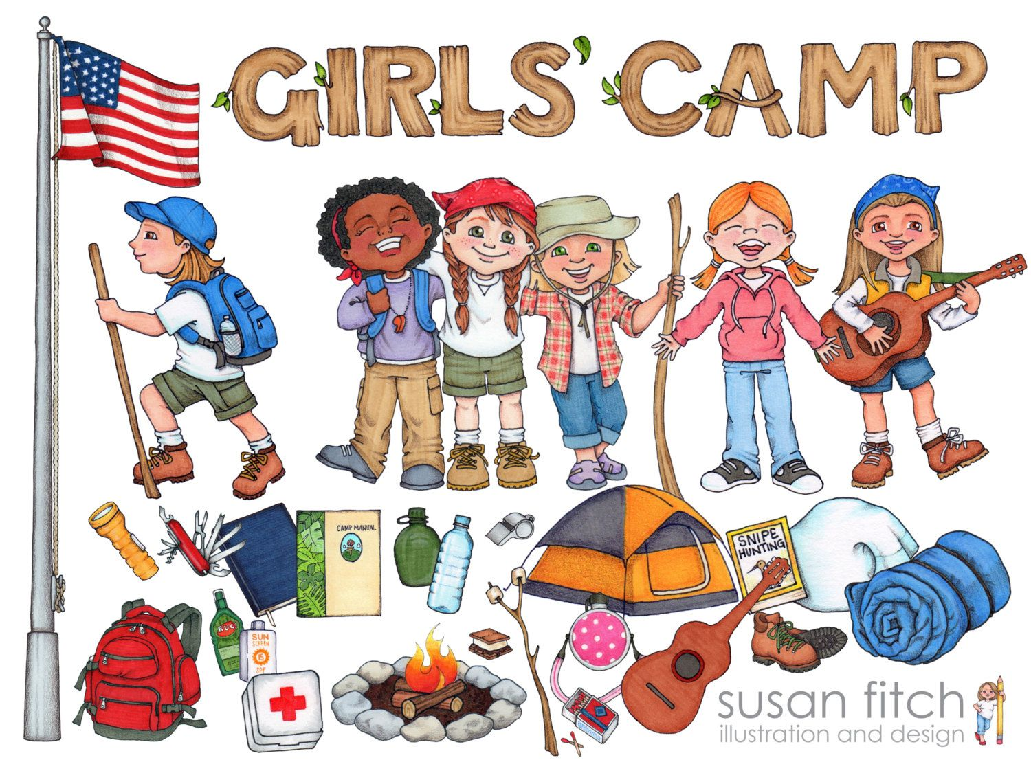 LDS Girls Camp Digital Clip Art Pack Including Campers Their Gear And More