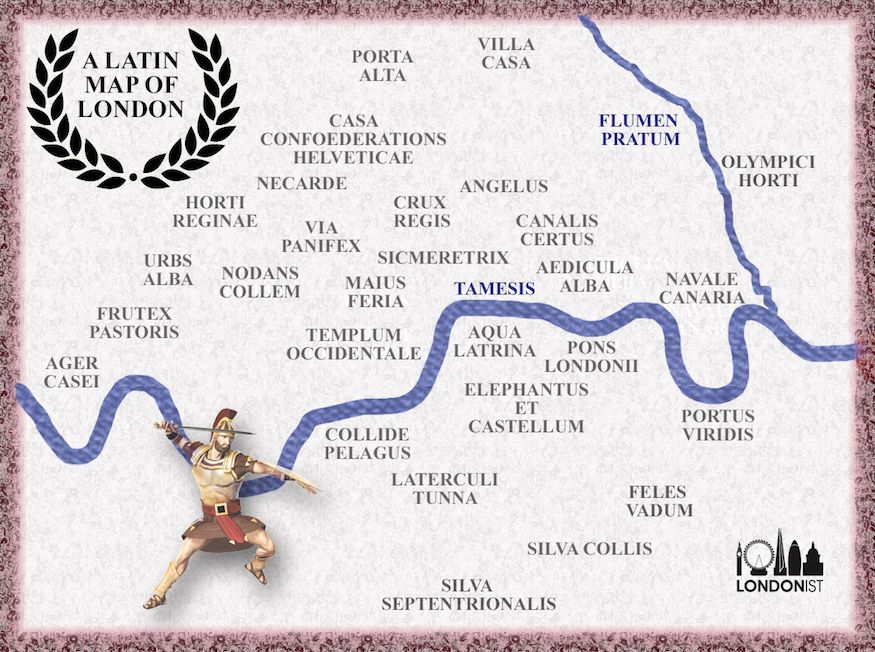 A Map Of London In Latin