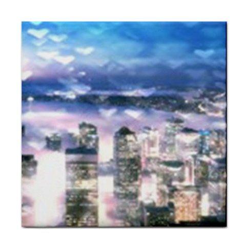 Blue and Purple Seattle Bokeh Hearts Ceramic Tile