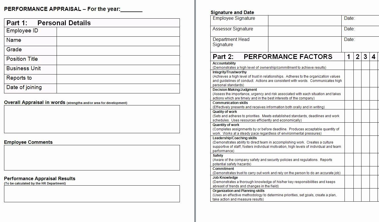 Performance Appraisal Template Word New Performance Appraisal Form Template Performance Appraisal Performance Evaluation Appraisal Free employee evaluation form template word