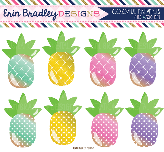 Pineapple Clipart Graphics Instant Download Personal ...