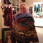 brenda using my hooked rug as a cape