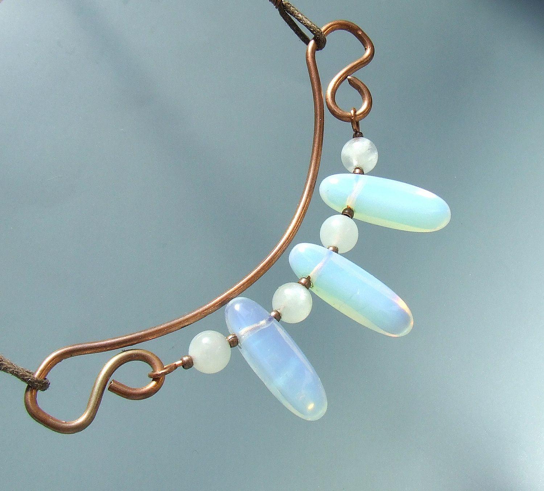 Real moonstone copper necklace opalite copper jewelry by VeraNasfa ...