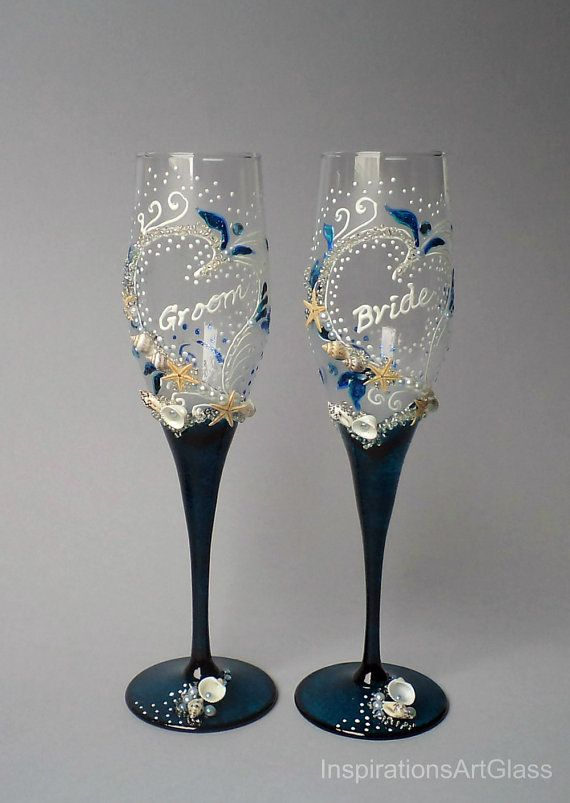 Beach Wedding Gles Bride And Groom Champagne Toasting Flutes Navy Blue