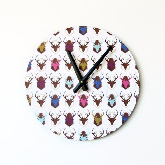 Hey, I found this really awesome Etsy listing at https://www.etsy.com/listing/222049408/wall-clock-etsy-art-mounted-deer-head