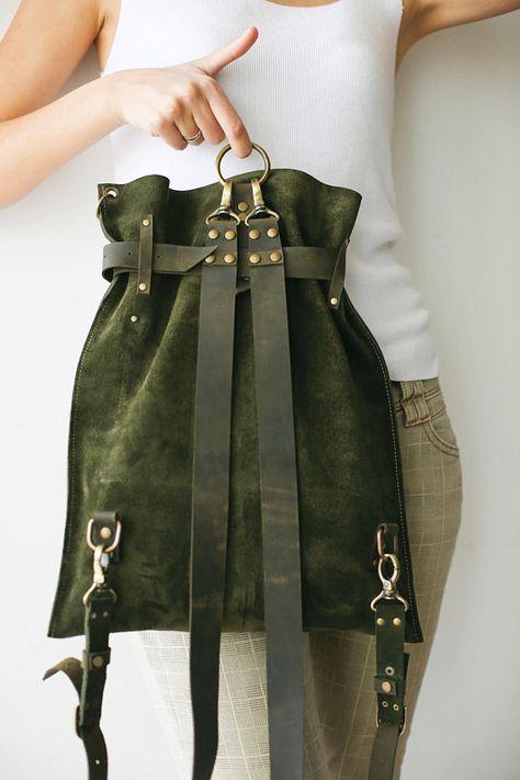 Bolso de cuero verde, mochila de gamuza, mochila vintage, mochila convertible