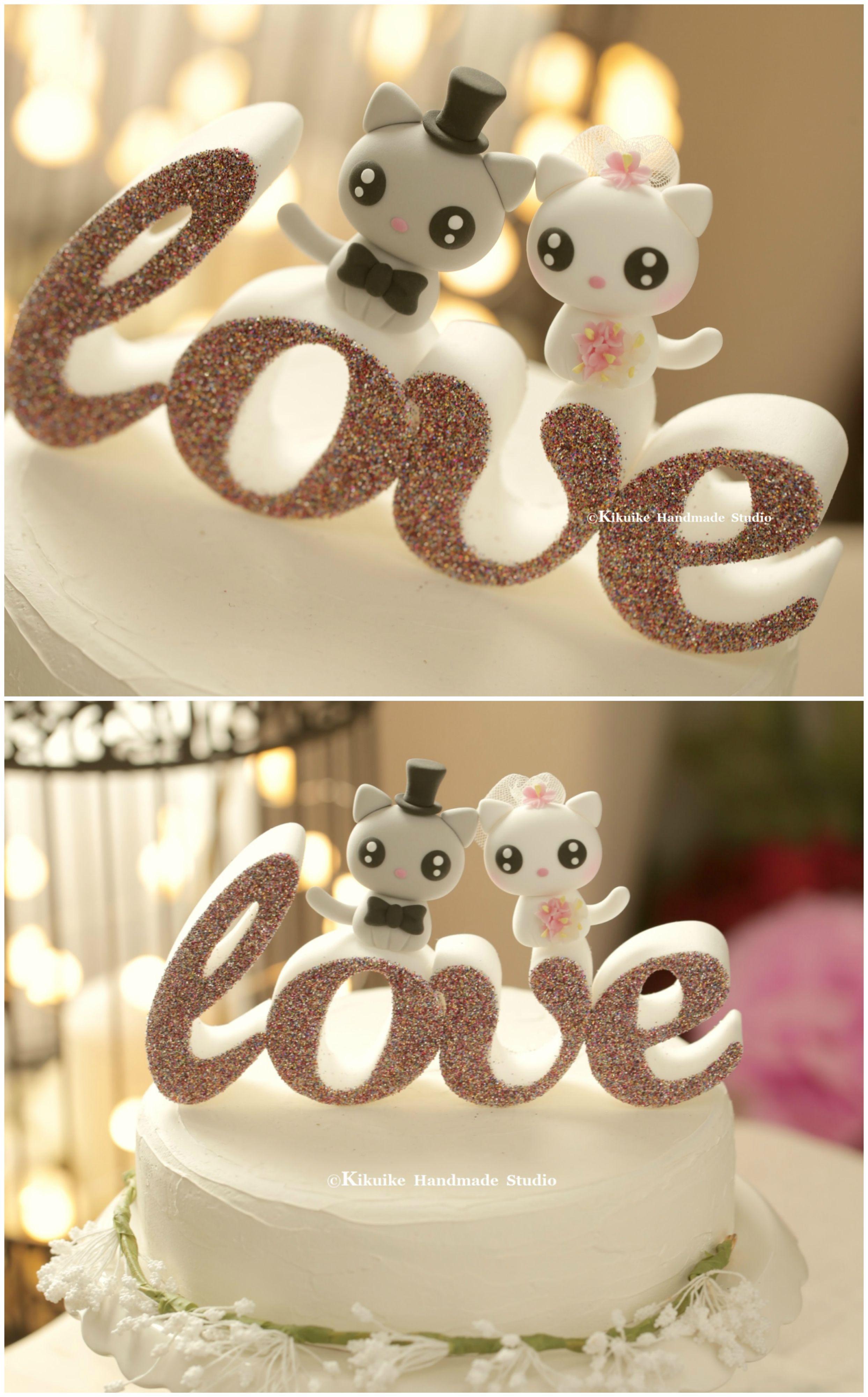 Cat Wedding Cake Topper, Kitty Wedding Cake Topper   K865