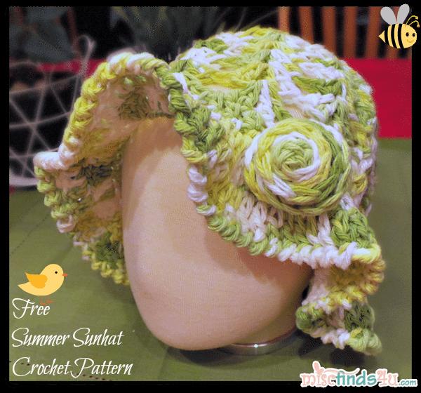 Free Kids Sun Hat or Easter Bonnet Crochet Pattern | Pinterest