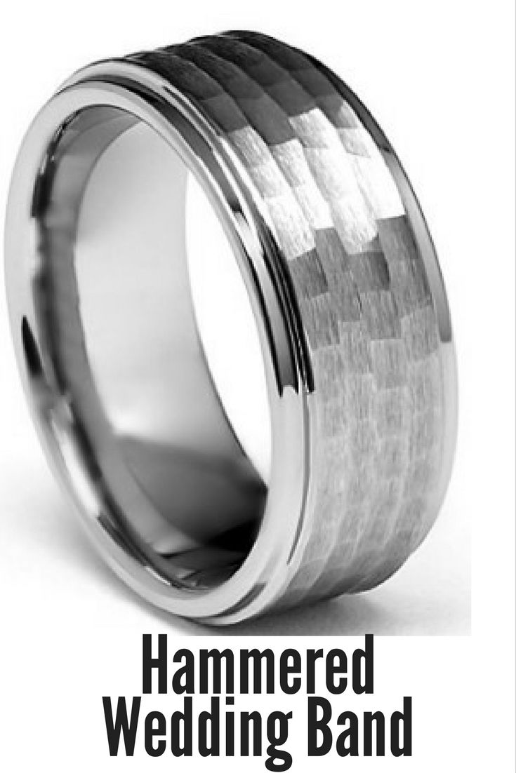 8mm Hammered Tungsten Wedding Band With Step Down Polish Edges