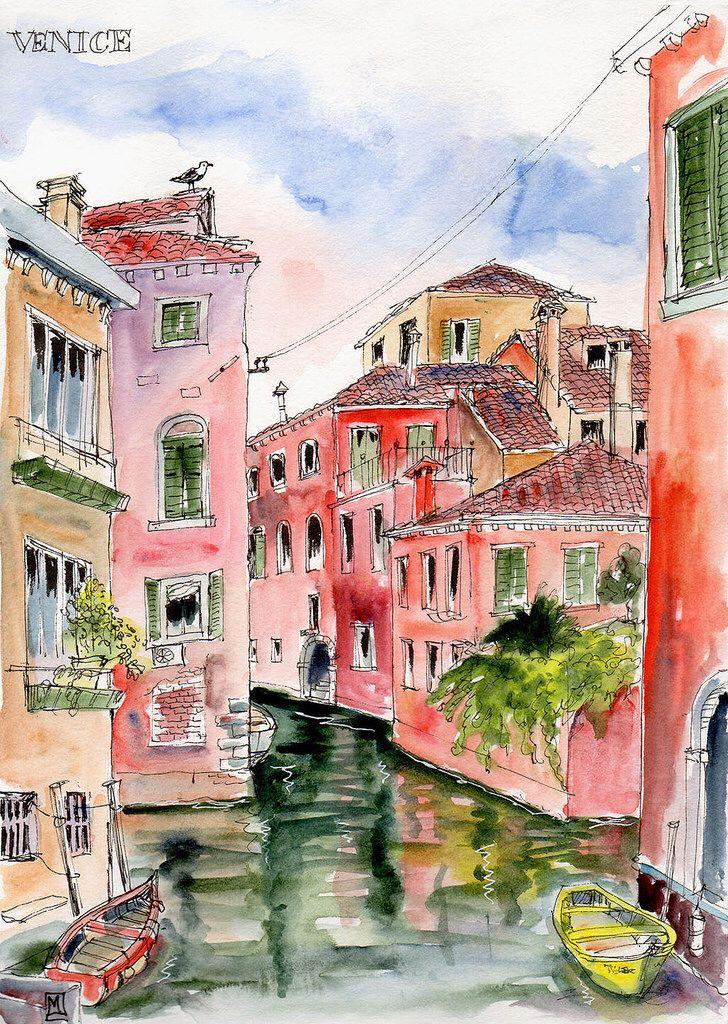 Venice Canal Lr Venice Painting Watercolor Architecture