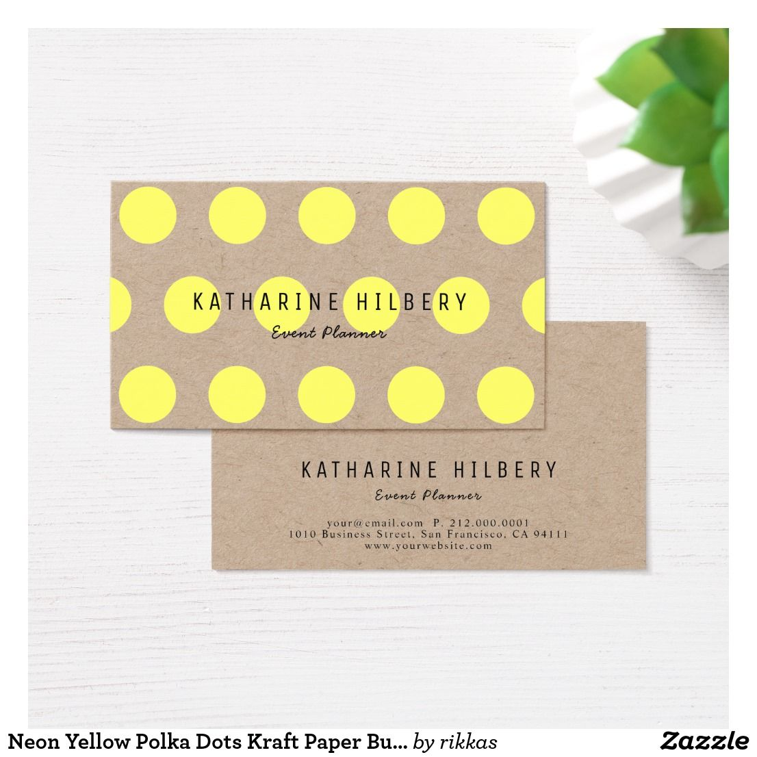 Neon Yellow Polka Dots Kraft Paper Business Card Zazzle Com Business Card Design Kraft Paper Yellow Polka Dot