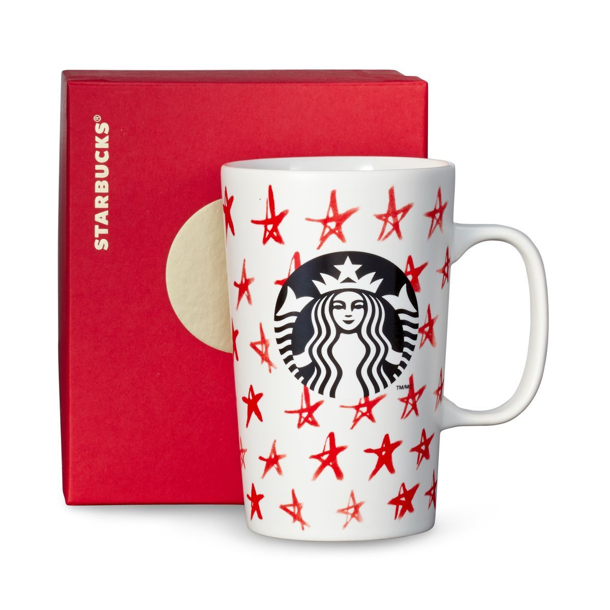 A ceramic coffee mug with a red star design. Part of our