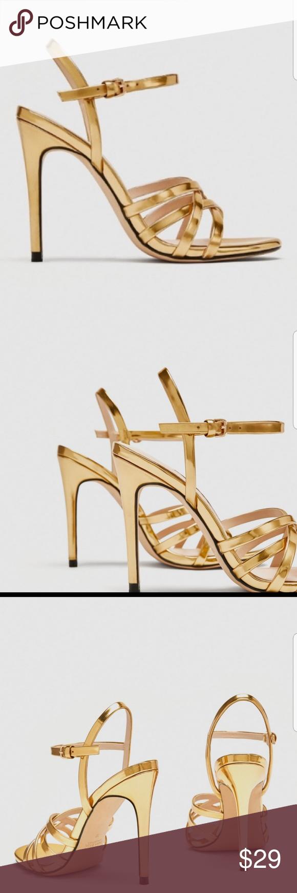 Zara Gold High Heels Laminated Strappy Sandals Zara Gold Gold High Heels Heels