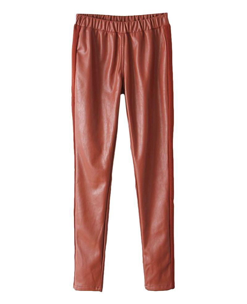Solid-tone Elastic-waist Leather Pants