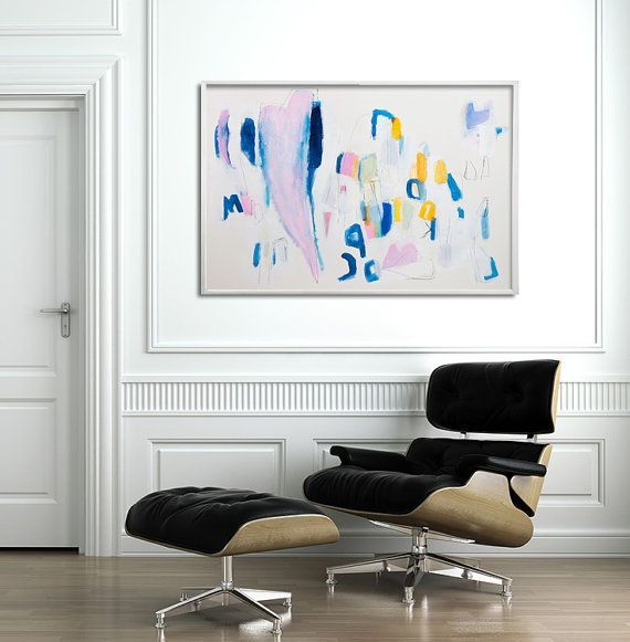 Large wall art Large Abstract Painting Original Acrylic Painting Blue White and Gold Decor by Duealberi
