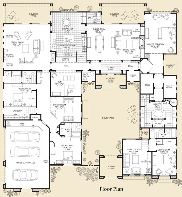 The Sonterra is a luxurious Toll Brothers home design available at - plan de maison avec patio interieur