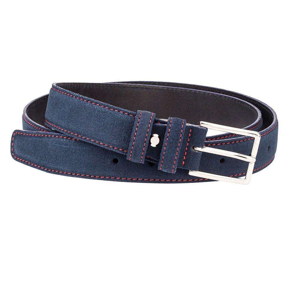 """Blue Suede Leather Belt Red Mens belts 100/% Italian leather Nubuck Dress W36/"""""""