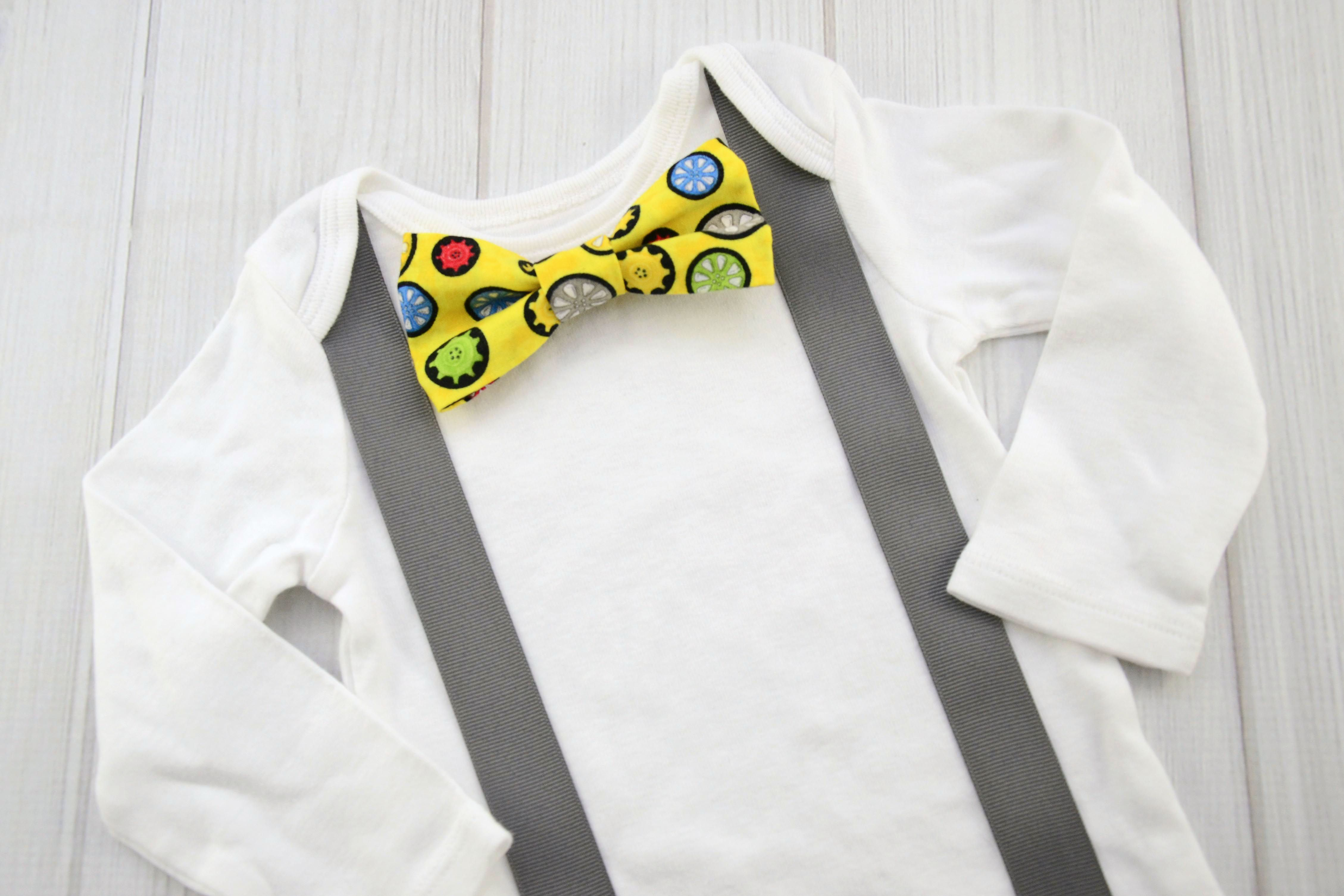 cc62af54c Yellow gears bow tie and suspender shirt. Baby boy clothing. Toddler ...