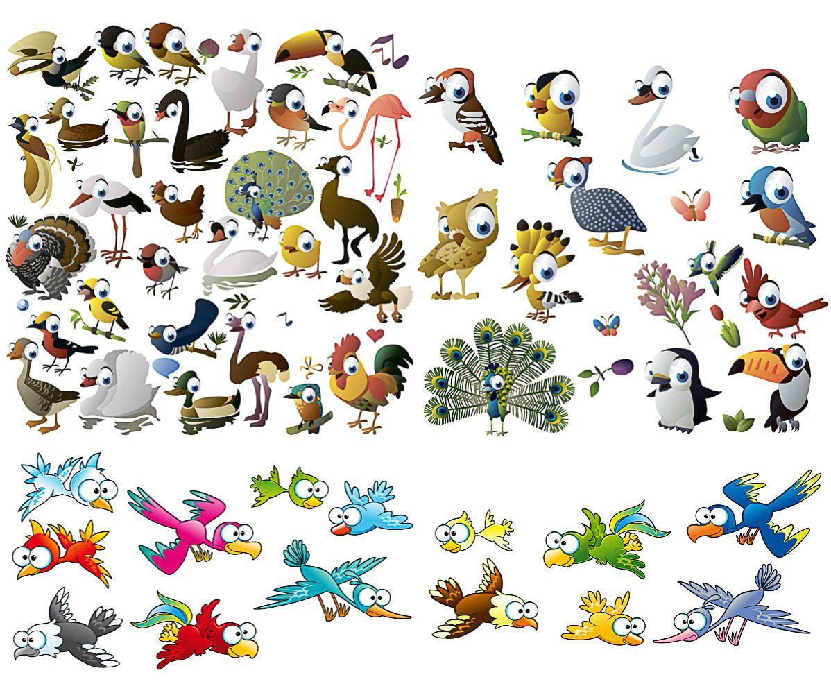 Funny Cartoon Birds Vector Free Download Crafts Cartoon Birds