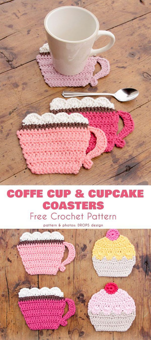 Coffee Cup and Cake Coasters Free Crochet Pattern #coffeecups