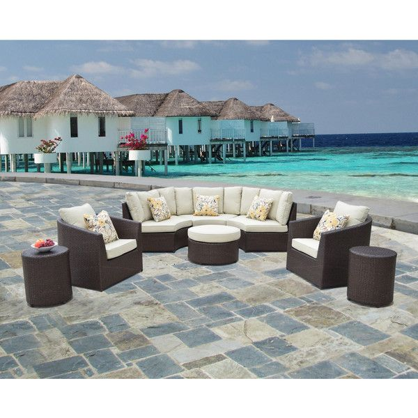 Corvus Melrose 8 Piece Brown Wicker Patio Furniture Set ($1,559) ❤ Liked On  Polyvore Featuring Home, Outdoors, Patio Furniture, Outdoor Patio Sets,  Beige, ...